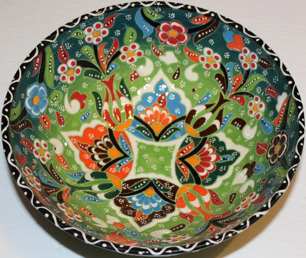 "8""x3"" Handmade Turkish Iznik Raised Tulip Pattern Ceramic Bowl"