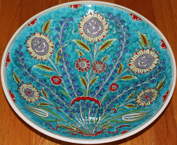 "Special Edition 16"" (40cm) Handmade Turkish Iznik Floral Pattern Ceramic Plate Bowl"