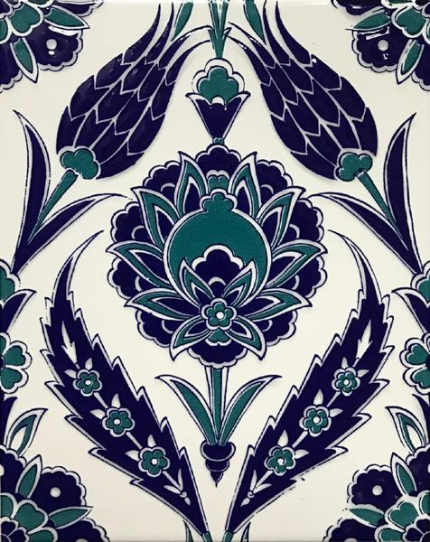 "8""x10"" Blue Turkish Iznik Carnation & Tulip Pattern Tile"