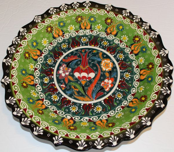 "12"" (30cm) Green Handmade Turkish Iznik Floral Pattern Ceramic Plate"