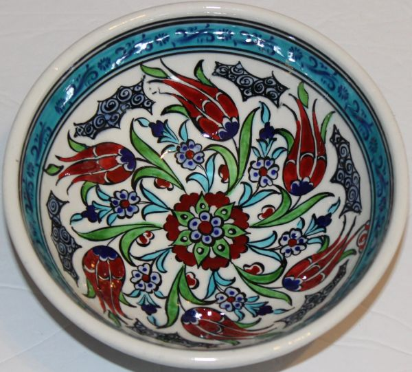 "6""x2 1/2"" Handmade Turkish Iznik Tulip Pattern Ceramic Bowl"