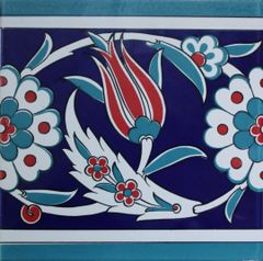 "8""x8"" Turkish Iznik Tulip, Daisy & Floral Pattern Ceramic Border Tile"