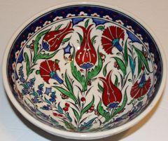 "8""x3"" Handmade Turkish Iznik Tulip & Carnation Pattern Ceramic Bowl"