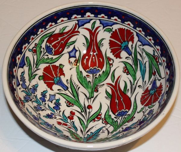 "8""x3"" Handmade Turkish Iznik Tulip & Carnation Pattern Ceramic Bowl"