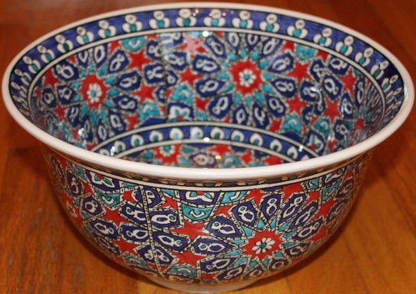 "12""x6"" Handmade Turkish Iznik Floral & Seljuk Geometric Pattern Ceramic Bowl"
