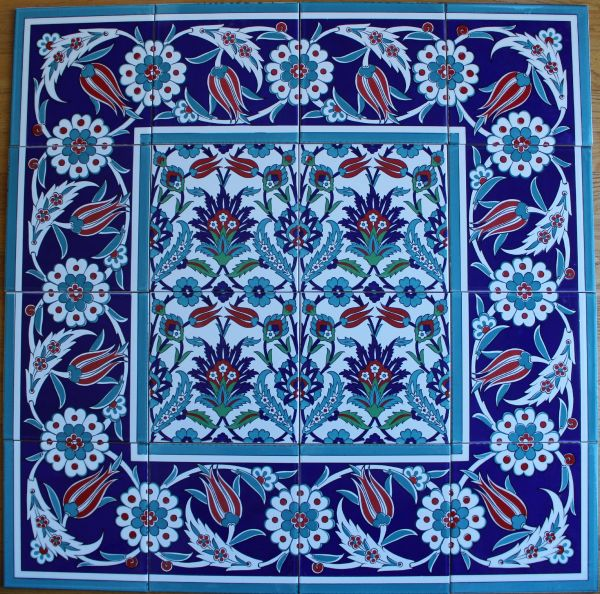 "Iznik Floral Pattern 32""x32"" Turkish Ceramic Tile MURAL PANEL"