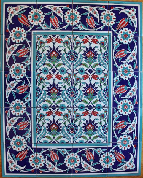 "Iznik Floral Pattern 32""x40"" Turkish Ceramic Tile MURAL PANEL"