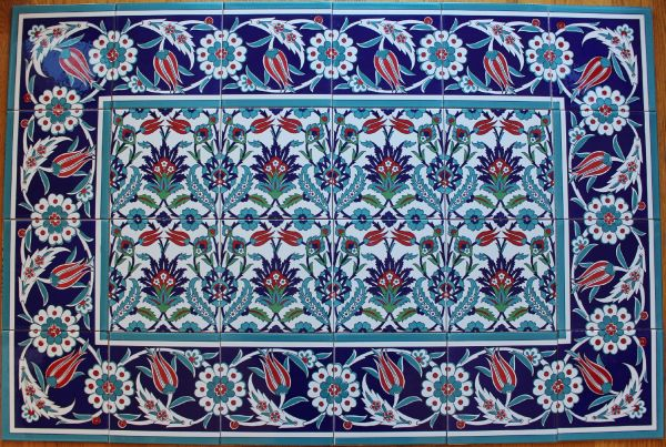 "Iznik Floral Pattern 32""x48"" Turkish Ceramic Tile MURAL PANEL"