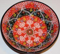 "10""x4"" Handmade Turkish Iznik Raised Floral Pattern Ceramic Bowl"