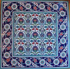 "Iznik Floral Pattern 40""x40"" Turkish Ceramic Tile MURAL PANEL"