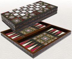 """20"""" Mother of Pearl Pattern Laminated Compressed Wood Checkers Backgammon Set"""