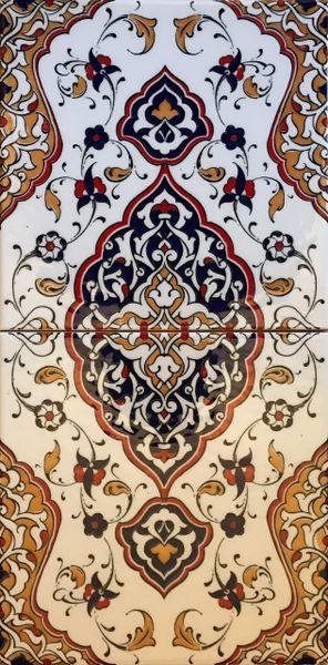 "8""x16"" Turkish Iznik Floral Pattern Ceramic Tile Set"