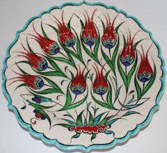 "Special Edition 12"" (30cm) Handmade Turkish Iznik Tulip & Floral Pattern Ceramic Plate"