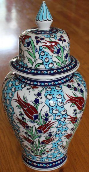 "15""x7"" Handpainted Turkish Iznik Tulip & Cintemani Pattern Cini Jar Urn Canister"