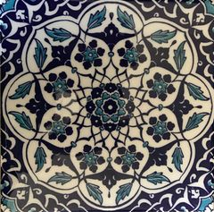 "Turkish Iznik Blue Daisy Pattern 8""x8"" Ceramic Tile"