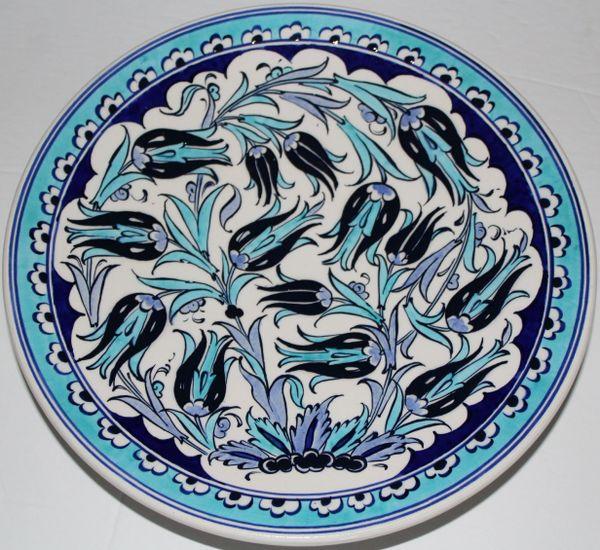 "10"" Blue & White Turkish Iznik Tulip & Floral Pattern Plate"