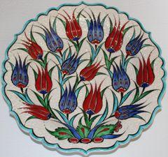 "Special Edition 12"" (30cm) Handmade Turkish Iznik Red & Blue Tulip Pattern Ceramic Plate"