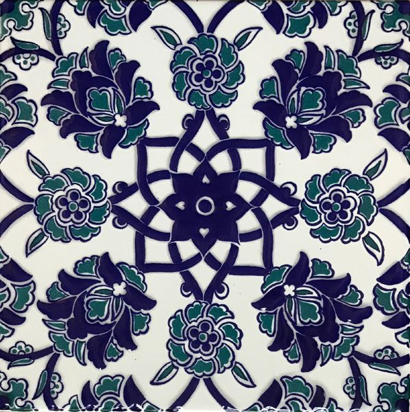 "Blue Turkish Iznik Carnation & Floral Pattern 8""x8"" Tile"