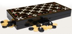 "19"" Floral Mother of Pearl Pattern Compressed Wood Checkers Backgammon Set"