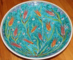 "Special Edition 16"" (40cm) Handmade Turkish Iznik Tulip & Cintemani Pattern Ceramic Plate Bowl"