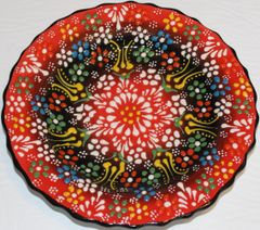 "7"" (18cm) Turkish Red Iznik Floral Pattern Ceramic Cini Plate"