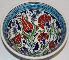 "6""x2 1/2"" Handmade Turkish Iznik Tulip & Carnation Pattern Ceramic Bowl"