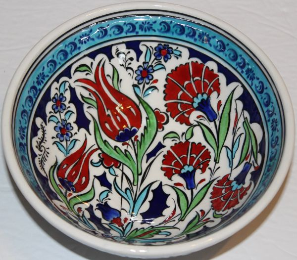 "6""x2 1/2"" Handmade Turkish Iznik Tulip & Carnation Pattern Ceramic Bowl"