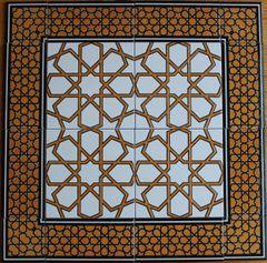"24""x24"" Turkish Iznik Geometric Pattern Ceramic Tile Mural Panel"