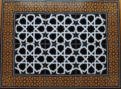 """24""""x32"""" Turkish Iznik Black Geometric Pattern Ceramic Tile Mural Panel"""