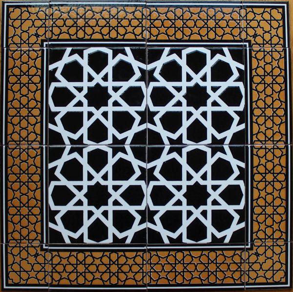 """24""""x24"""" Turkish Iznik Black Geometric Pattern Ceramic Tile Mural Panel"""