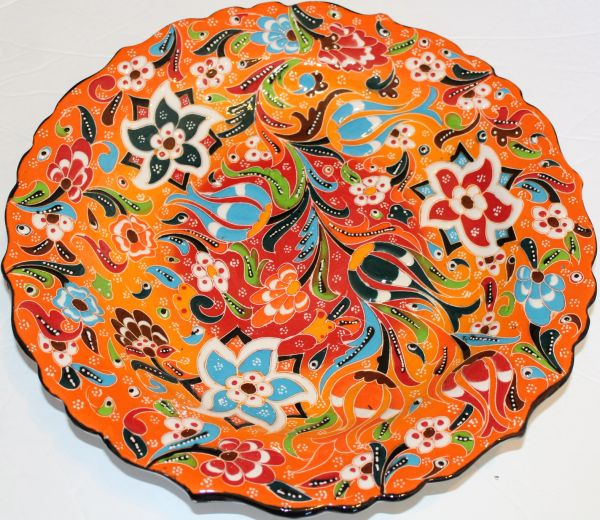 "12"" Red & Orange Raised Turkish Hand-made Iznik Floral Pattern Ceramic Plate"