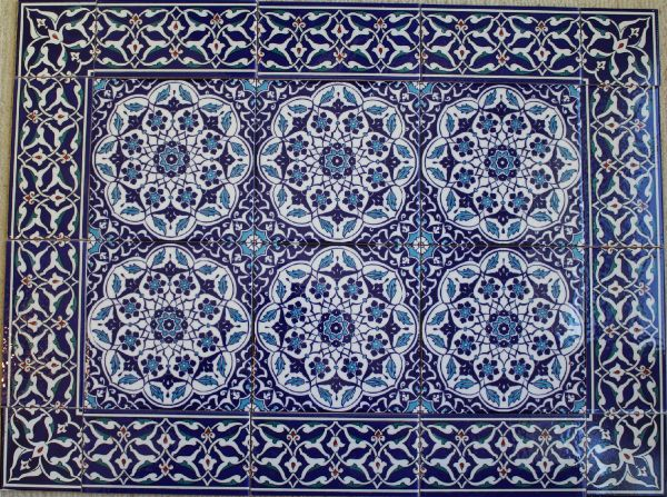 "56""x32"" Turkish Iznik Daisy & Floral Pattern Ceramic Tile Mural Panel"