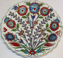 "Special Custom Handmade 12"" Turkish Iznik Floral Pattern China Plate"