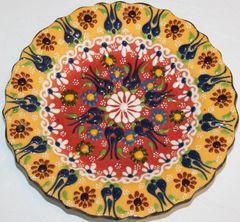 "7"" (18cm) Turkish Mustard & Red Iznik Floral Pattern Ceramic Cini Plate"