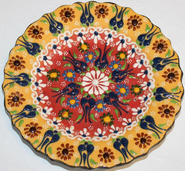 "7"" (18cm) Turkish Mustard & Red Iznik Floral Pattern Ceramic Cini Plate"