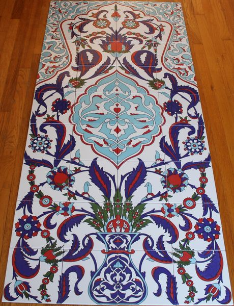 "32""x71"" Turkish Hand-painted Iznik Floral & Vase Pattern Ceramic Tile Mural Panel"