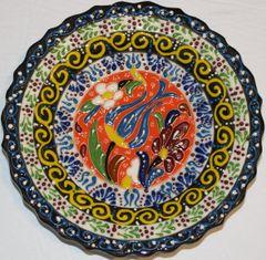 "7"" (18cm) Turkish Iznik Raised Tulip & Floral Pattern Ceramic Cini Plate"