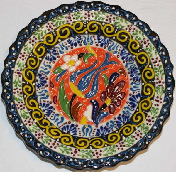 "7"" (18cm) Turkish Iznik Raised Tulip & Floral Pattern Ceramic Cini Plate"