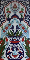 "8""x16"" Turkish Iznik Vase & Floral Pattern Ceramic Tile Panel"