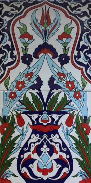 "8""x16"" Turkish Iznik Vase & Floral Pattern Ceramic Tile Panel"