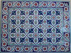 "24""x32"" Turkish Iznik Daisy & Floral Pattern Ceramic Tile Mural Panel"