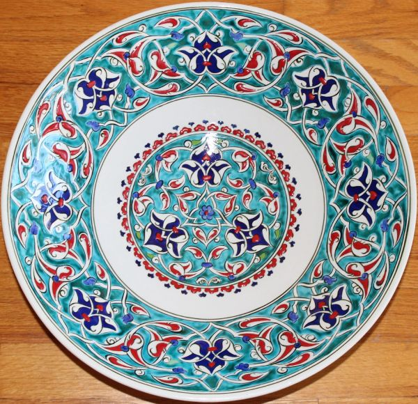 "Special Edition 16"" (40cm) Handmade Turkish Iznik Carnation & Cintemani Pattern Ceramic Plate Bowl"