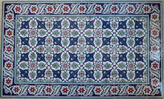 "24""x40"" Turkish Iznik Daisy & Floral Pattern Ceramic Tile Mural Panel"