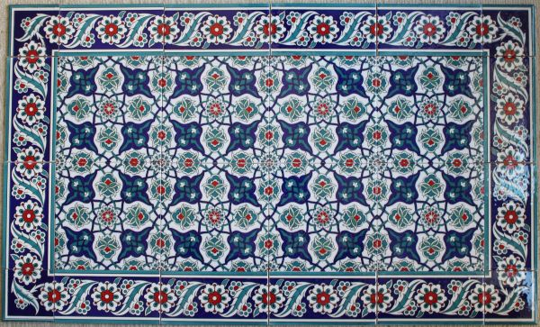 "24""x40"" Turkish Iznik Daisy & Floral Pattern Ceramic Tile Mural Panel"