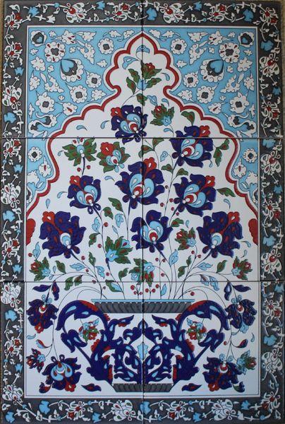 "16""x24"" Turkish Hand-painted Iznik Floral & Vase Pattern Ceramic Tile Mural Panel"