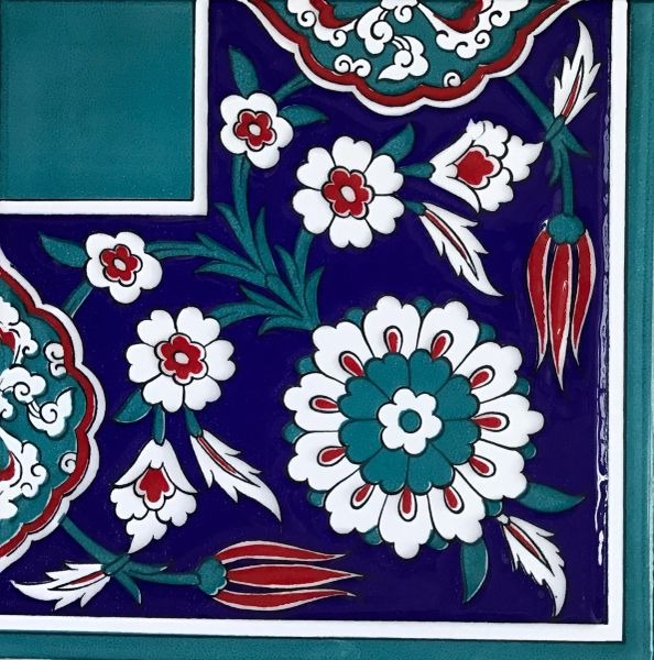 "8""x8"" Turkish Raised Iznik Floral Pattern Ceramic Corner Tile"