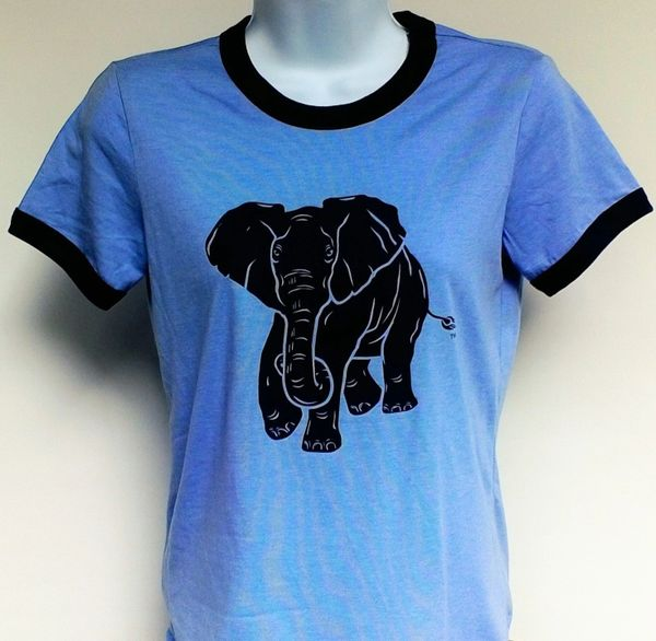 Women's Heather Blue Ringer Elephant Tee