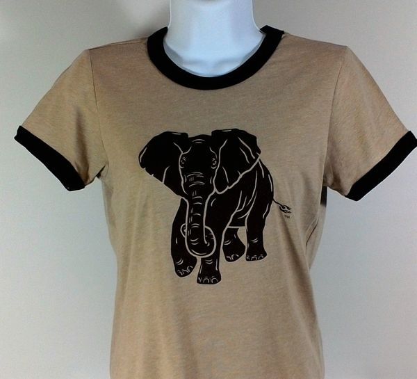Mens Heather Tan Ringer Elephant Tee