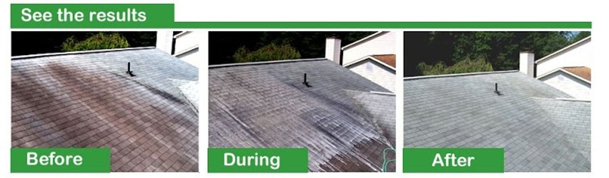 Roof Cleaning - Let us clean that dirty roof with our safe, no pressure process.