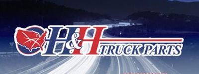 Commercial truck repair shop H&H Truck Parts night logo